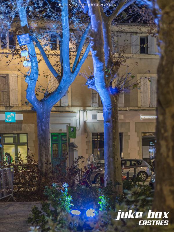 Éclairage place de l'Albinque à Castres pour le marché de noel.